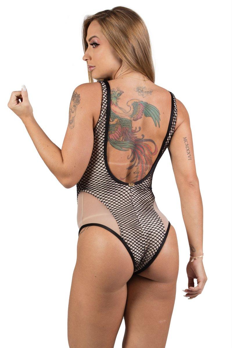 Maria Gueixa Body Maxi Decote Tela 005490
