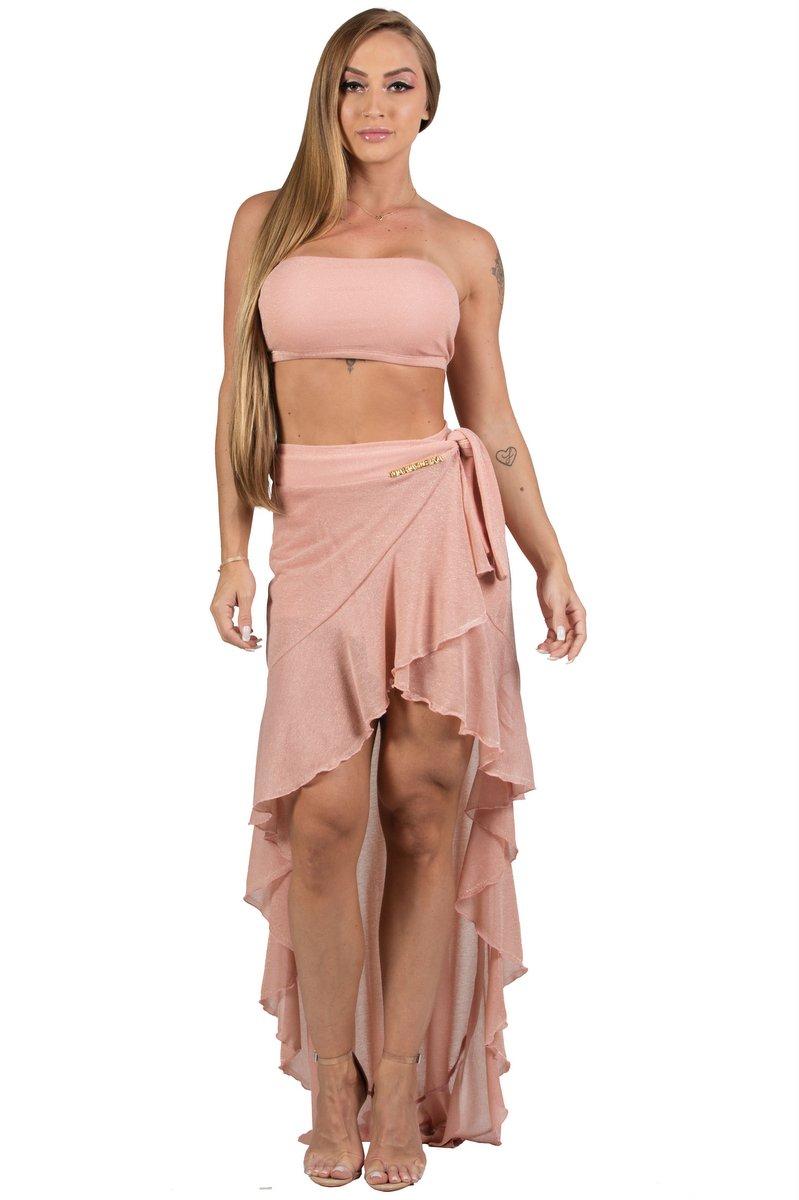 Maria Gueixa Long Skirt and Top Lurex Rosê Set 005683A