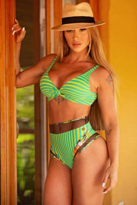Lets Gym Bikini Panties Hot Pants Fashion Navy Green C766B
