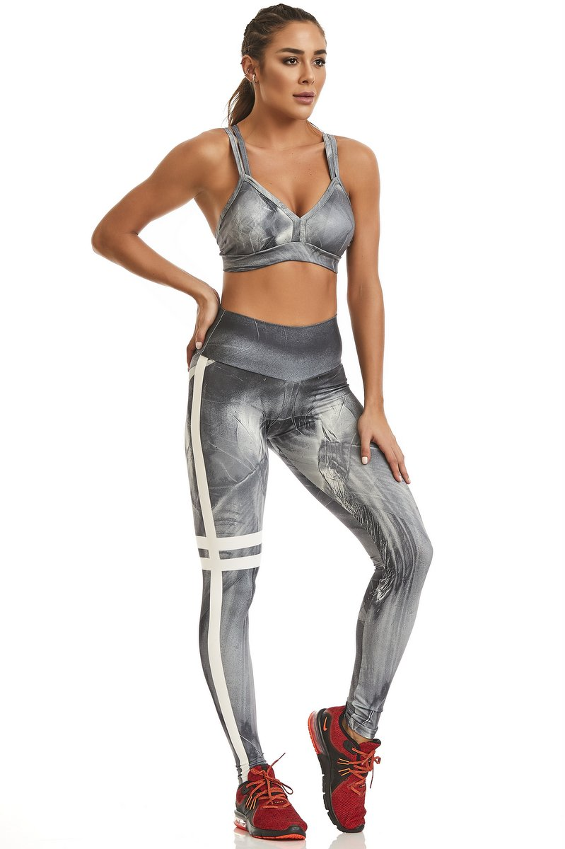 Caju Brasil Calça Legging Print Fabulous Grey 11187F6R45