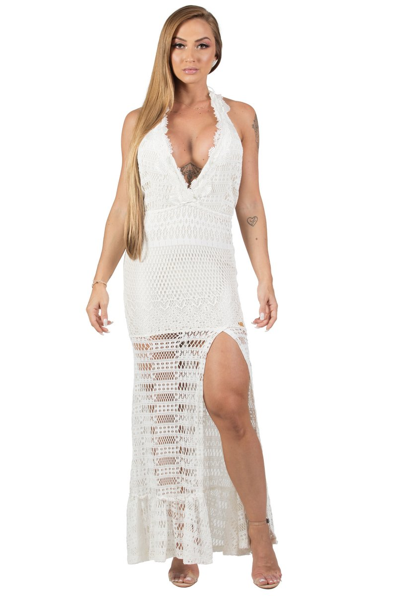Maria Gueixa Vestido Longo Frente Única Off White 005608