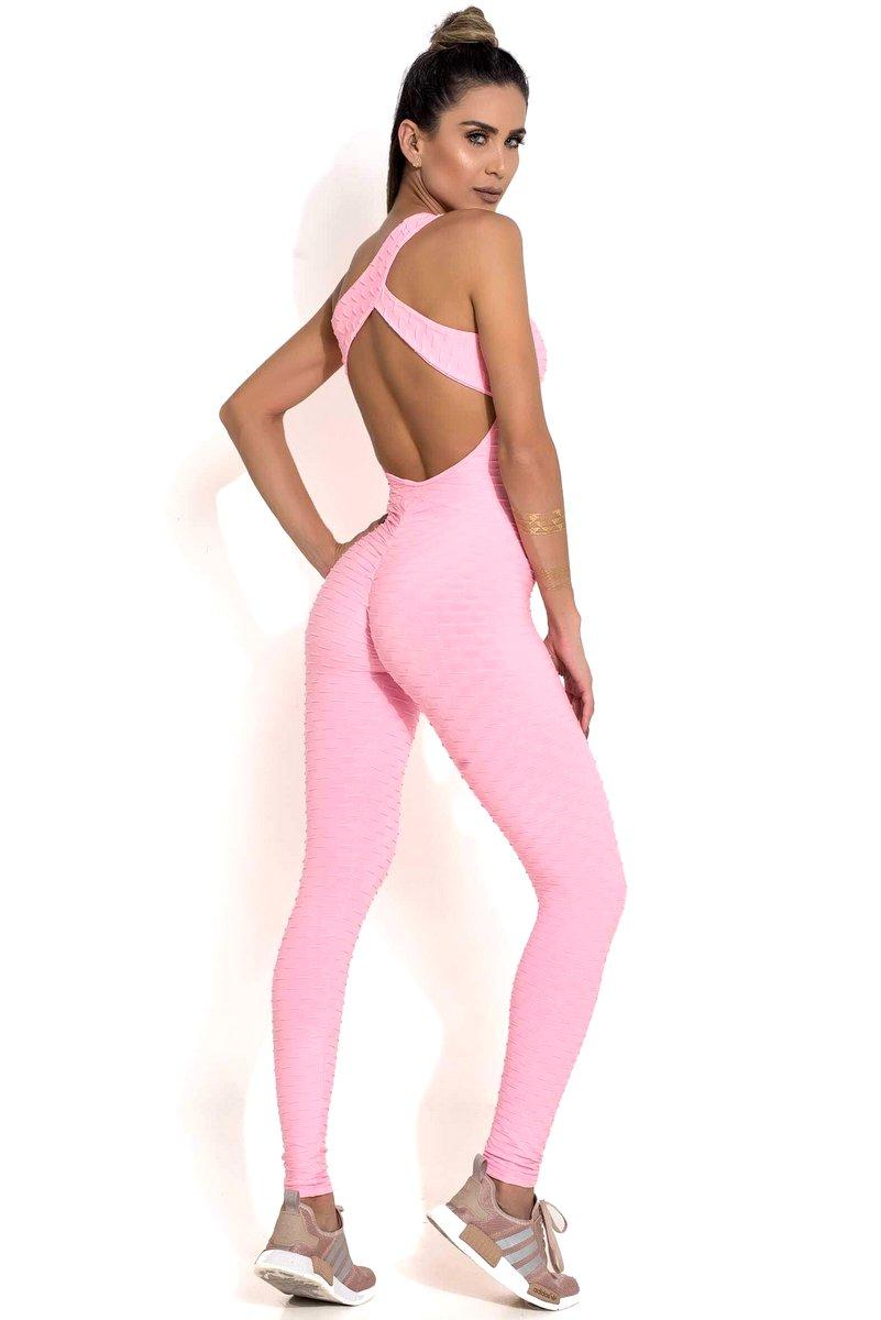 Canoan Macacão Scrunch Tropical Rosa Claro Neon 26003