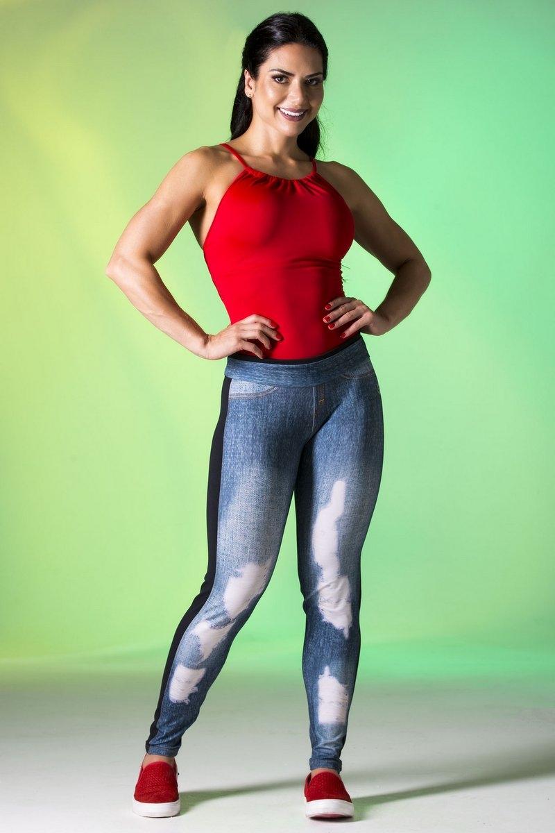 Canoan Calça Legging Jeans Recorte Preto 11101