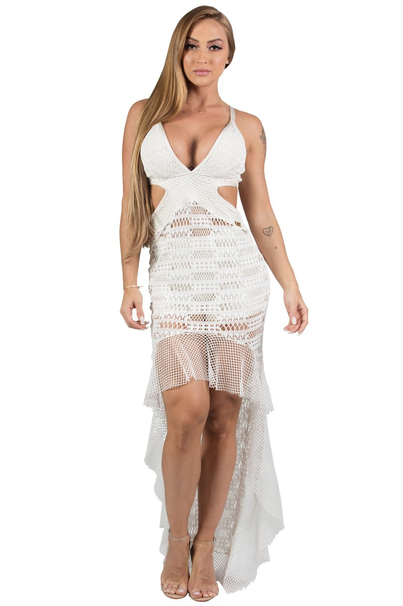 Maria Gueixa Vestido Longo e Shorts Hot Pant Off White 005687