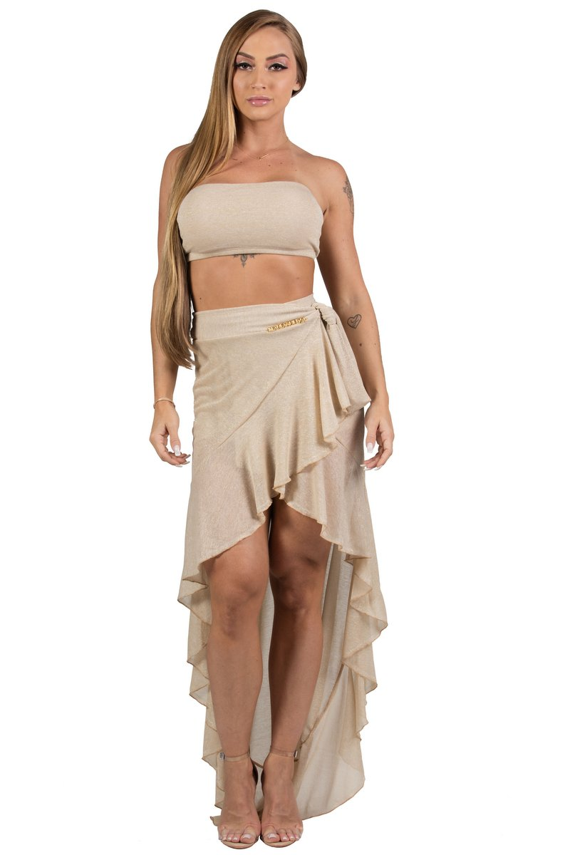 Maria Gueixa Long Lurex and Golden Skirt Set 005683B