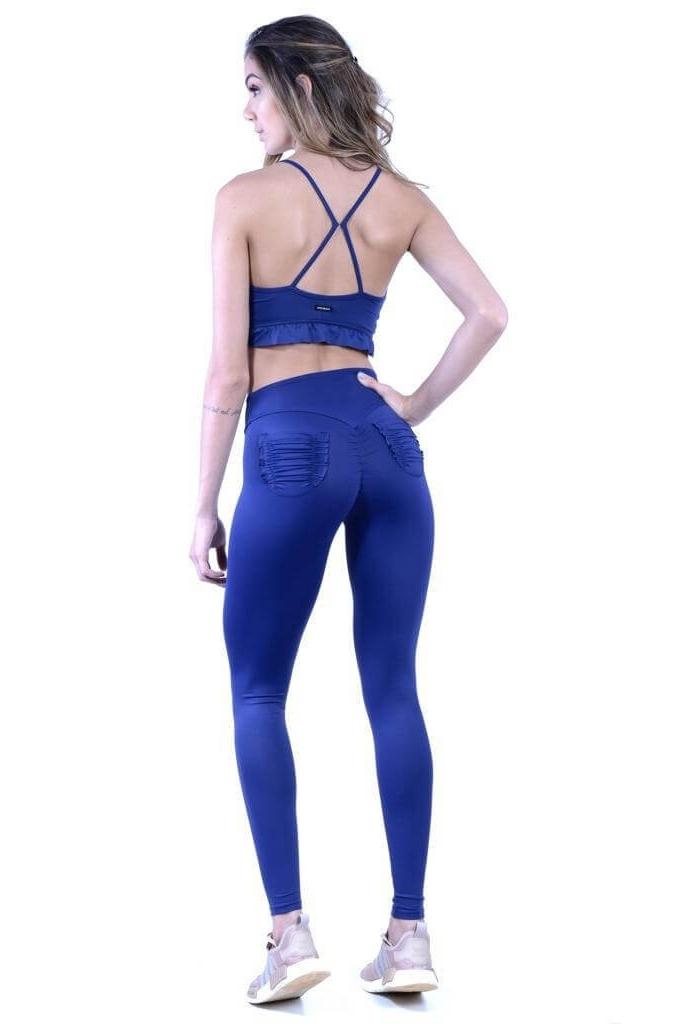 Canoan Calça Legging Scrunch Bolso Azul Marinho 11090