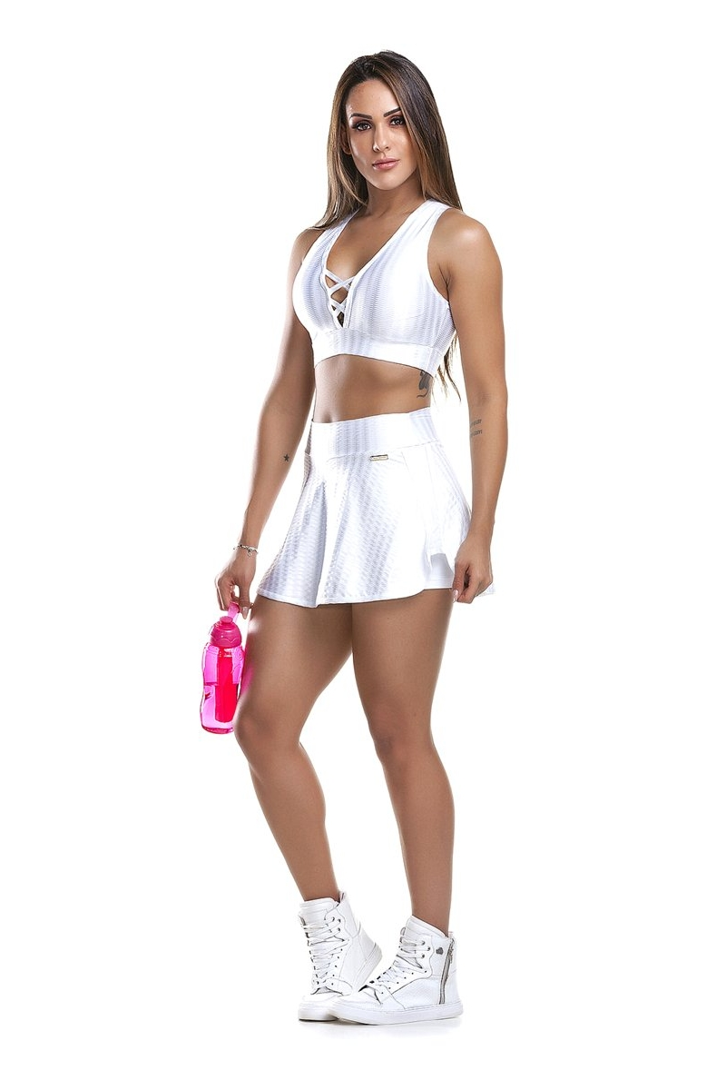 Zero Açucar Shorts Saia Wonder Branco 110115