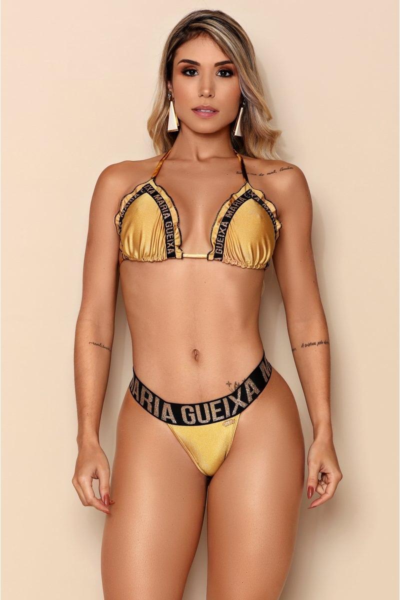 Maria Gueixa Biquíni Conjunto Metálico Ouro 006293