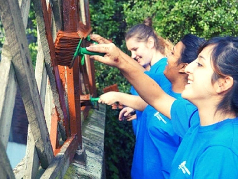 New friends paint a fence