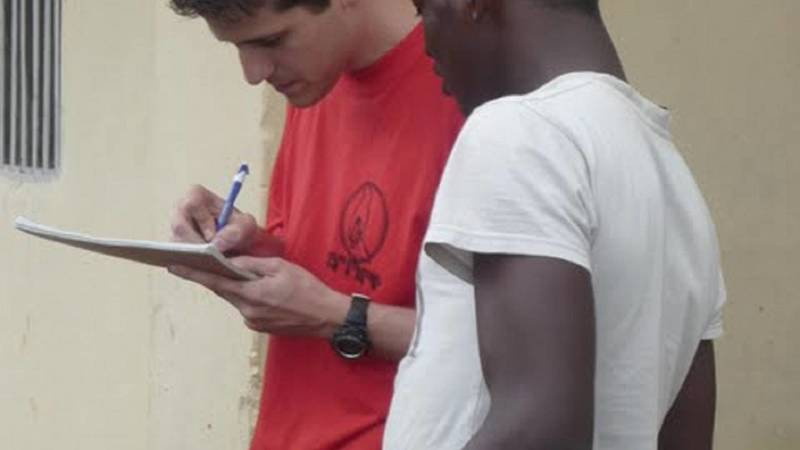 Volunteer conducting a survey