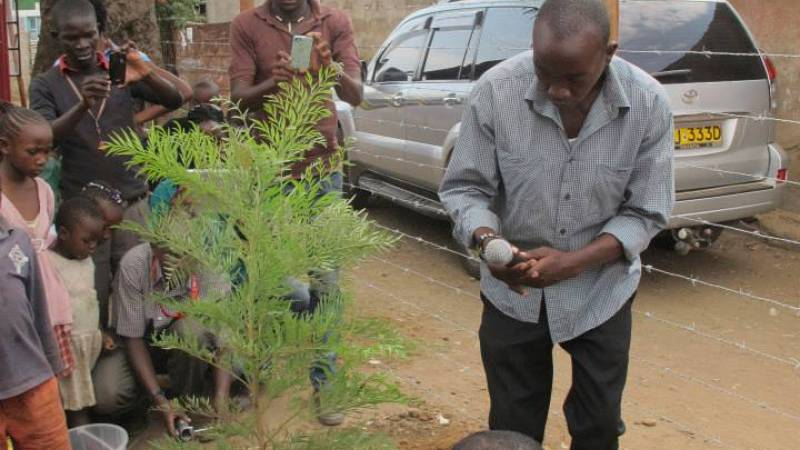 Programs Director planting a symbolic tree