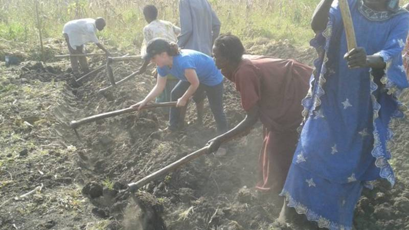 preparing the soil with a community group