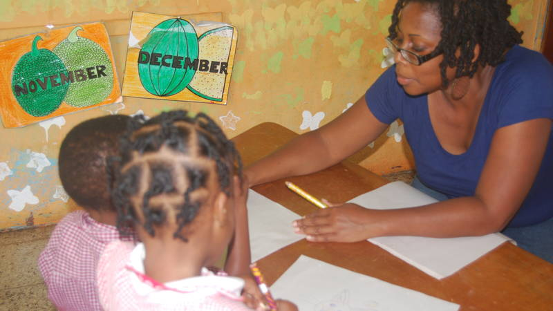 Teaching at an orphanage