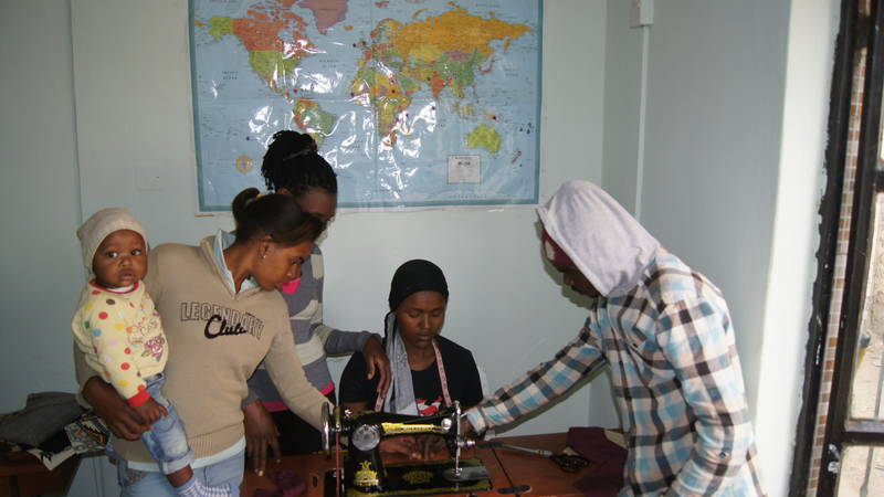 The young mothers learning how to sew