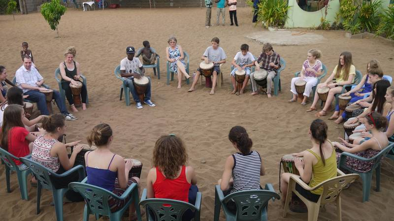 Drumming at the volunteer house