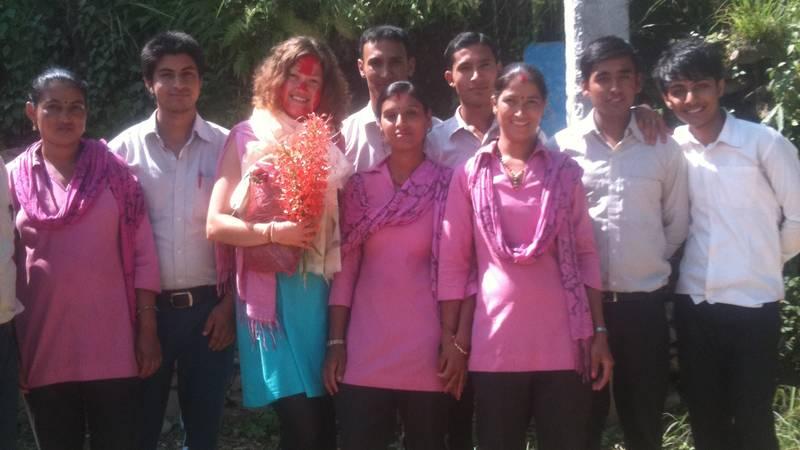 Volunteer with staff