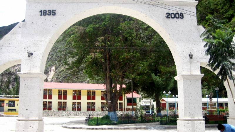 Looking through the arch at the school