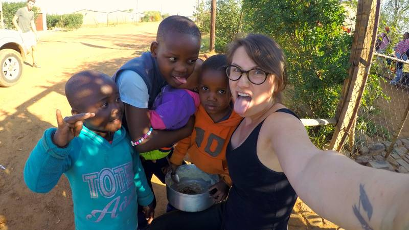 Meeting kids during the township run