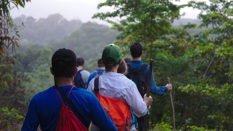 Youth program participants hiking