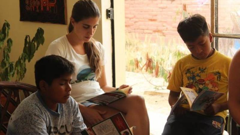 One of our interns working with local kids