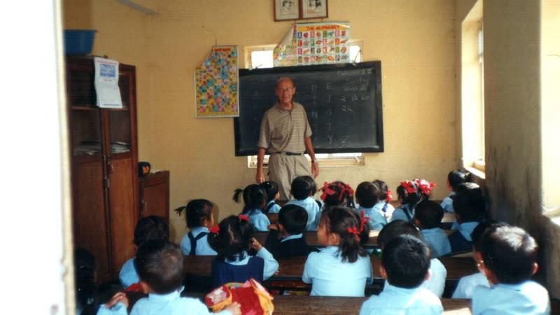 Teaching KG students.