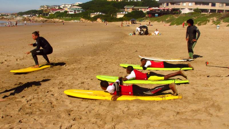 Teaching kids how to surf
