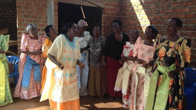 The elderly mothers dancing