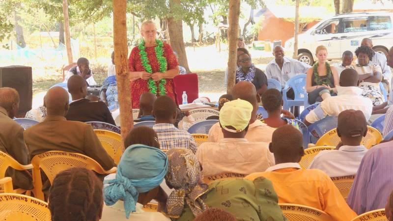 Addressing the community.