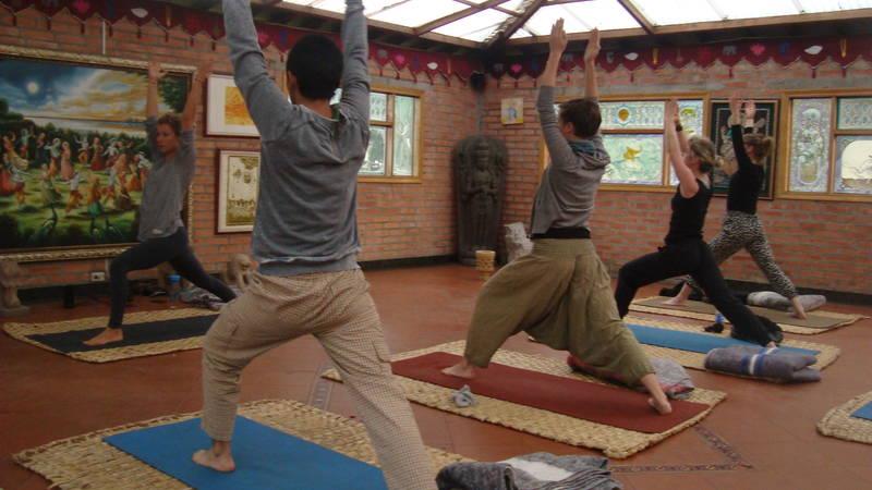 Volunteers yoga class