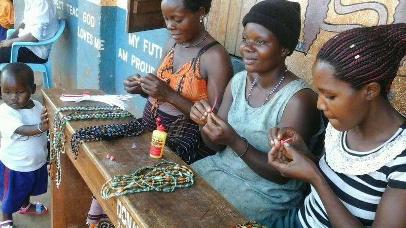 women making handicrafts in a village