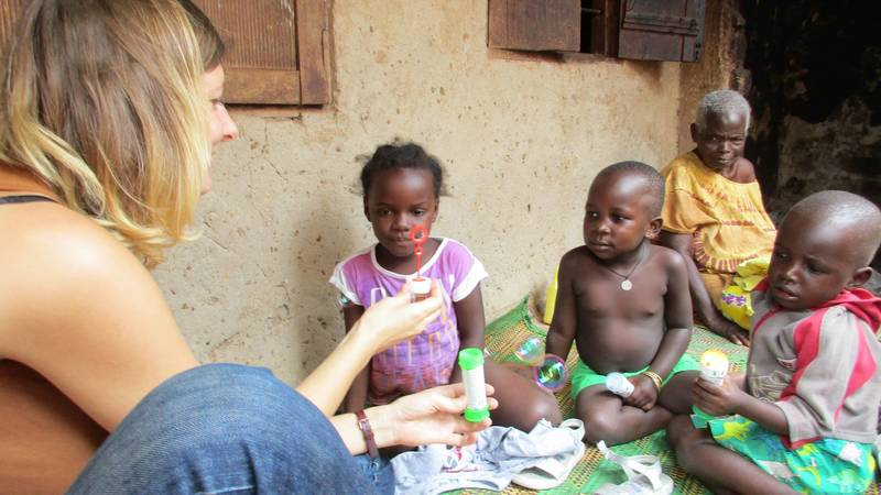 A volunteer on a community outreach program.
