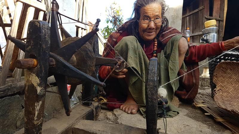 Local womens in village working on handicrafts.