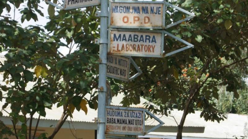 Signpost at the hospital