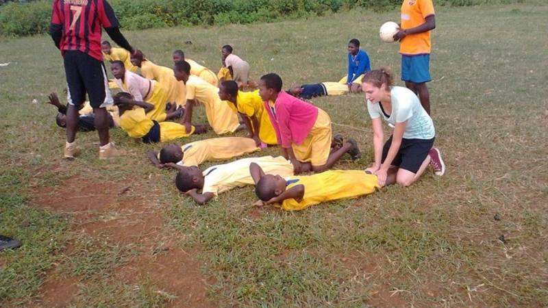 girls football in a partner school.