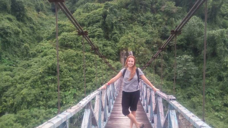 English Volunteer in hanging bridge