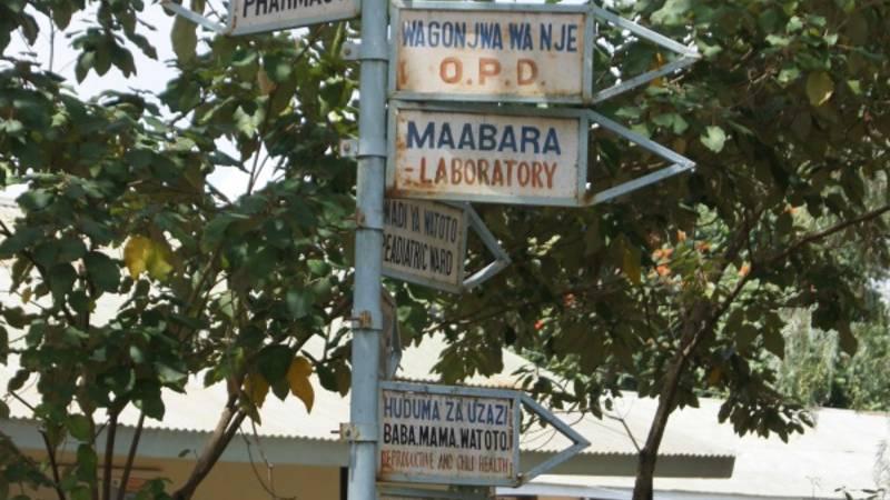 Signpost at the hospital