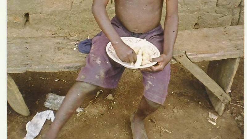 needy child eating