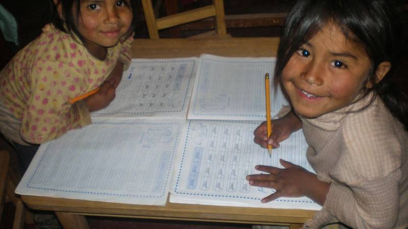 Children enjoying the library in Morado K'asa
