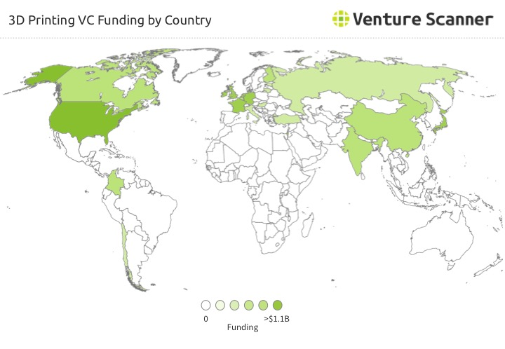 3D Printing VC Funding by Country