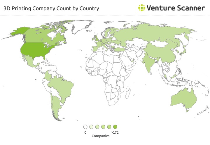 3D Printing Startup Count by Country
