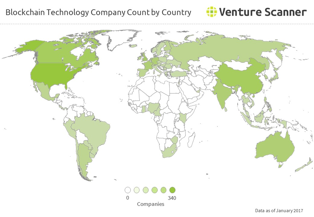 Bitcoin/Blockchain Company Count by Country