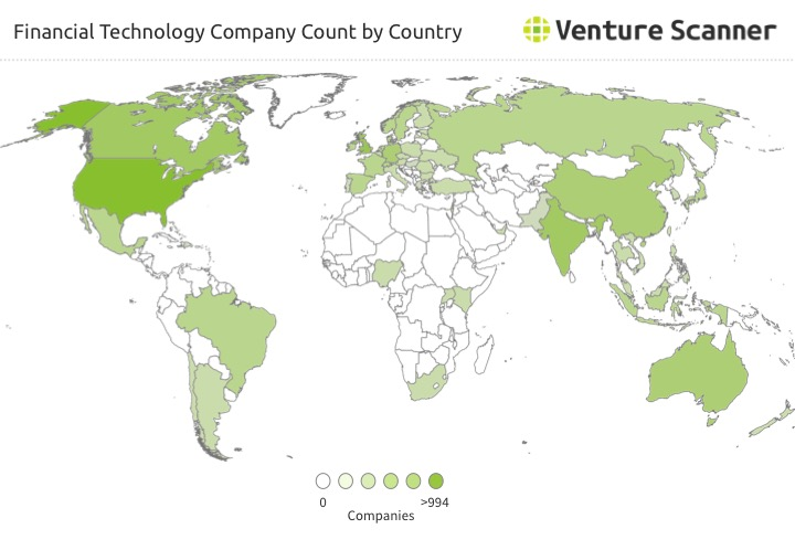 Fintech Startup Count by Country
