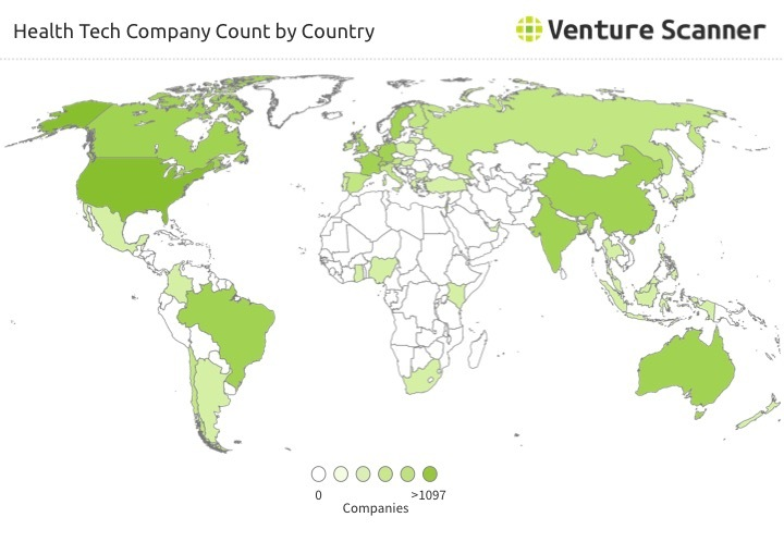 Health Tech Company Count by Country