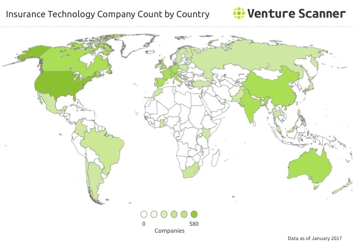 Insurance Technology Startup Count by Country
