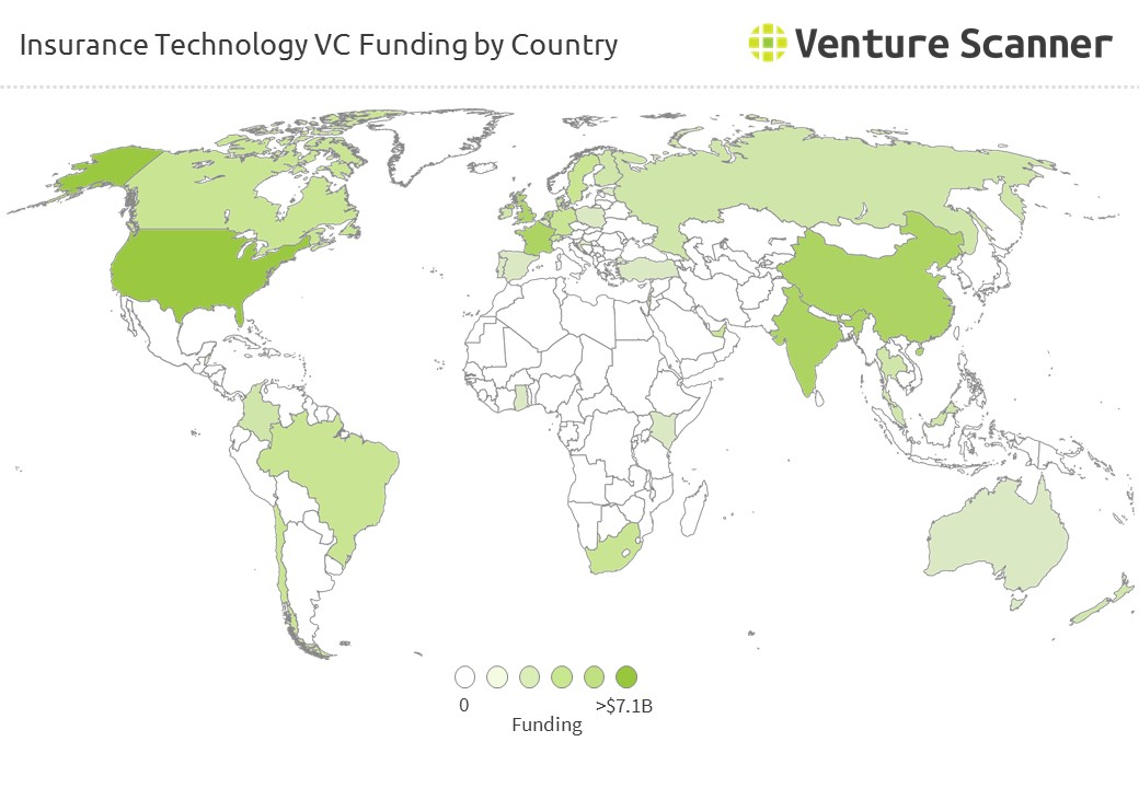 Insurance Technology VC Funding by Country
