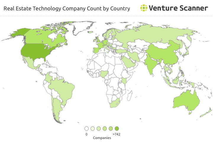 Real Estate Technology Startup Count by Country