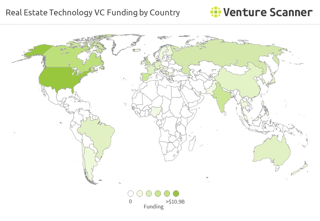 Real Estate Technology VC Funding by Country