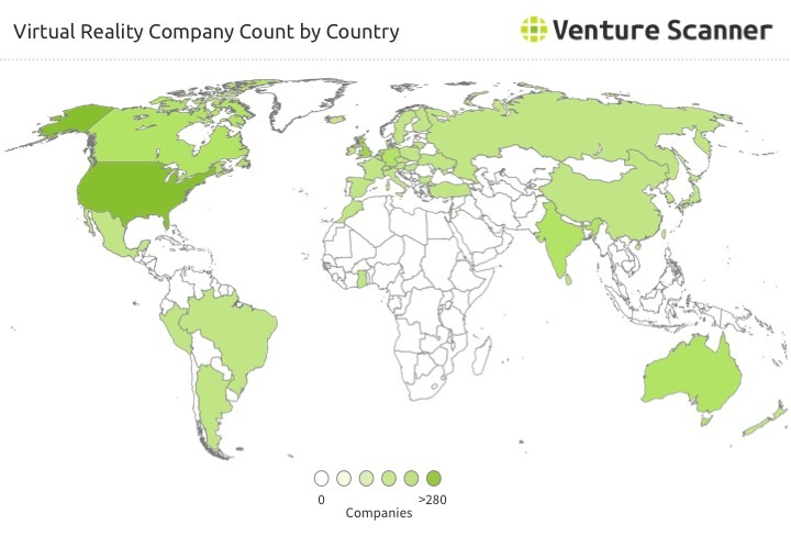 Virtual Reality Company Count by Country Q1 2017