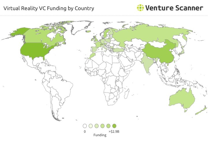 Virtual Reality VC Funding by Country Q1 2017