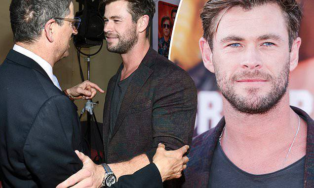 Chris Hemsworth: Chris Hemsworth chats withSony Pictures chairman Thomas Rothman in Los Angeles.  Chri...